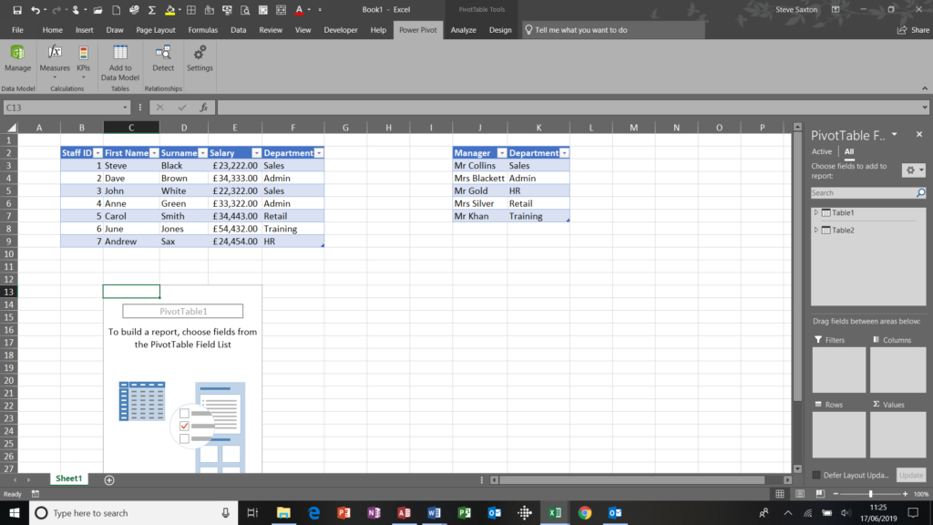 Pivot table window through the PowerPivot tab