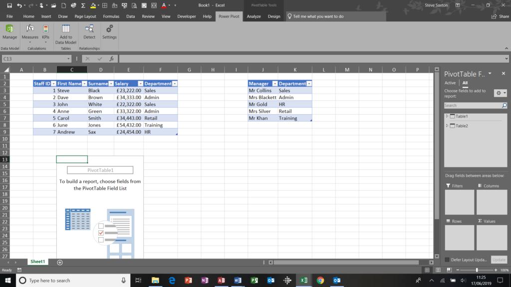 Pivot table window through the PowerPivot tab